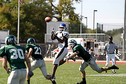15 September 2007:  Robert Beauchamp zeros in on Marcus Pryor II as the pass approaches. The Titans stood toe to toe with the 25th ranked Lions through the first half but ended the game on the losing end of a 25-15 score at Wilder Field on the campus of Illinois Wesleyan University in Bloomington Illinois.