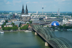 Skyline of Cologne with cathedral and River Rhine in Germany