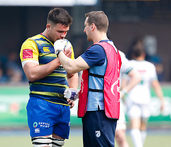 Cardiff Blues' Ellis Jenkins receives medical attention<br /> <br /> Photographer Simon King/Replay Images<br /> <br /> European Rugby Challenge Cup - Semi Final - Cardiff Blues v Pau - Saturday 21st April 2018 - Cardiff Arms Park - Cardiff<br /> <br /> World Copyright © Replay Images . All rights reserved. info@replayimages.co.uk - http://replayimages.co.uk