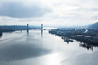 View of Willamette River from the St. John's Bridge in Portland, Oregon.