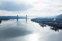 View of Willamette River from the St. John's Bridge in Portland, Oregon.