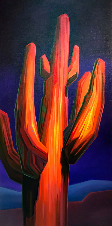 SOLD<br /> The royalty of the Sonoran glows in crimson against a lush, violet desert night sky.<br /> 30 x 60, oil on canvas.