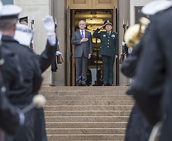 November 10, 2018 - Arlington, VA, United States of America - U.S. Secretary of Defense James Mattis, left, and Minister of National Defense of the People's Republic of China General Wei Fenghe render honors during the arrival ceremony at the Pentagon November 9, 2018 in Arlington, Virginia. (Credit Image: © Angelita M. Lawrence via ZUMA Wire)