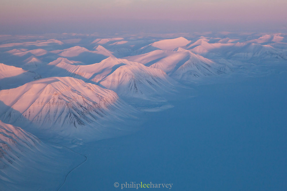 The frozen landscape of Spitsbergen, the largest island of the Svalbard archipelago. Svalbard is a group of islands in the Arctic Circle and part or Norway