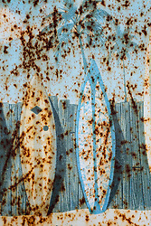 rusted metal with hand painted beach scene of surfboards