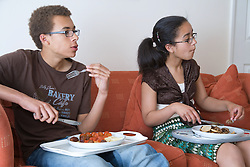 Portrait of a teenagers watching television and eating dinner,