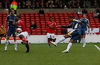 Photo: Richard Lane/Richard Lane Photography. Nottingham Forest v Cardiff City. Coca Cola Championship. 24/10/2008. Jay Bothroyd (R) volleys over as Wes Morgan (L) closes in