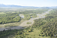 Aerial of the Snake River, Jackson Hole, Wyoming