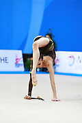 Romanova Eleonora during qualifying at clubs in Pesaro World Cup at Adriatic Arena on April 11, 2015. Eleonora was born August 17, 1998 in Krasnodonl, Ukrain. After september 2016 obtained Russian citizenship, and become a Russian individual rhythmic gymnast.