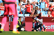 Jordan Ayew of Aston Villa ® in action.EFL Skybet championship match, Aston Villa v Rotherham Utd at Villa Park in Birmingham, The Midlands on Saturday 13th August 2016.<br /> pic by Andrew Orchard, Andrew Orchard sports photography.