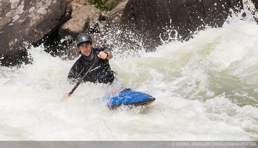 An unidentified whitewater paddler powers their way through the rapids at Pillow Rock on the Gauley River during American Whitewater's Gauley Fest weekend. The upper Gauley, located in the Gauley River National Recreation Area is considered one of premier whitewater rivers in the country.