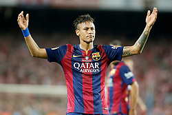 30.05.2015, Camp Nou, Barcelona, ESP, Copa del Rey, Athletic Club Bilbao vs FC Barcelona, Finale, im Bild FC Barcelona's Neymar Santos Jr celebrates goal // during the final match of spanish king's cup between Athletic Club Bilbao and Barcelona FC at Camp Nou in Barcelona, Spain on 2015/05/30. EXPA Pictures © 2015, PhotoCredit: EXPA/ Alterphotos/ Acero<br /> <br /> *****ATTENTION - OUT of ESP, SUI*****