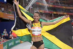 Jamaica's Aisha Praught celebrates winning the Women's 3000m Steeplechase Final at the Carrara Stadium during day seven of the 2018 Commonwealth Games in the Gold Coast, Australia.