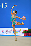"Jerman Aja during hoop routine at the International Tournament of rhythmic gymnastics ""Città di Pesaro"", 10 April, 2015. Jerman Aja born 20 August 1999 in Ljubljana, is a Slovenian rhythmic gymnast.<br />