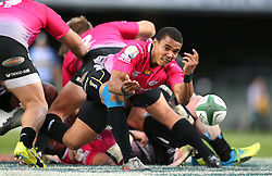 Kevin Luiters of the Pumas sends the ball back during the Currie Cup Premier Division match between the DHL Western Province and the Pumas held at the DHL Newlands rugby stadium in Cape Town, South Africa on the 17th September  2016<br /> <br /> Photo by: Shaun Roy / RealTime Images