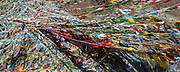 China, Tibet, Buddhist prayer flags fluttering in the wind the pass near Medro Gongar east of Lhasa.