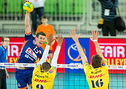 Eric Mochalski of ACH vs Earvin Ngapeth of Modena and Lucas Saatkamp of Modena during volleyball match between ACH Volley (SLO) and Modena Volley (ITA) in Round #1 of CEV DenizBank Champions League Men 2015/16, on November 5, 2015 in Arena Stozice, Ljubljana, Slovenia. Photo by Vid Ponikvar / Sportida