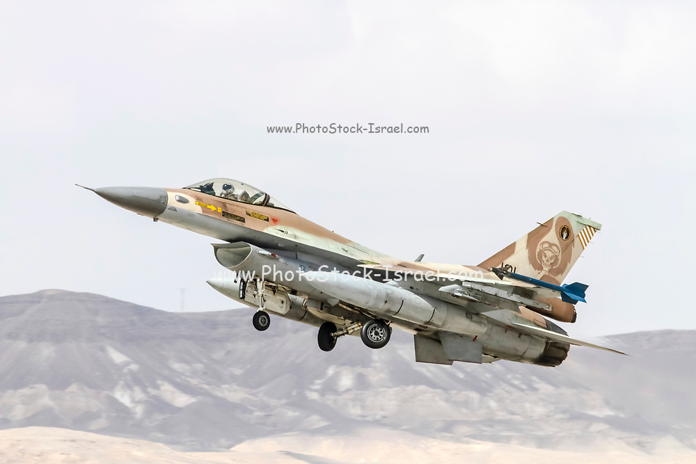 """Israeli Air Force (IAF) General Dynamics F-16C at take off.  Photographed at the  """"Blue-Flag"""" 2017, an international aerial training exercise hosted by the Israeli Air Force (IAF) at Ouvda airfield, Israel. November 2017"""