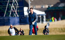 Brian O'driscoll playing the first hole. Alfred Dunhill Links Championship this morning at Championship Course at Carnoustie.