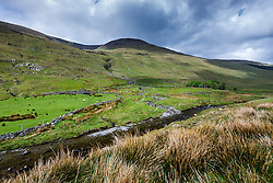 Stream and mountains through Sheeffrey Hills, County Mayo, Ireland