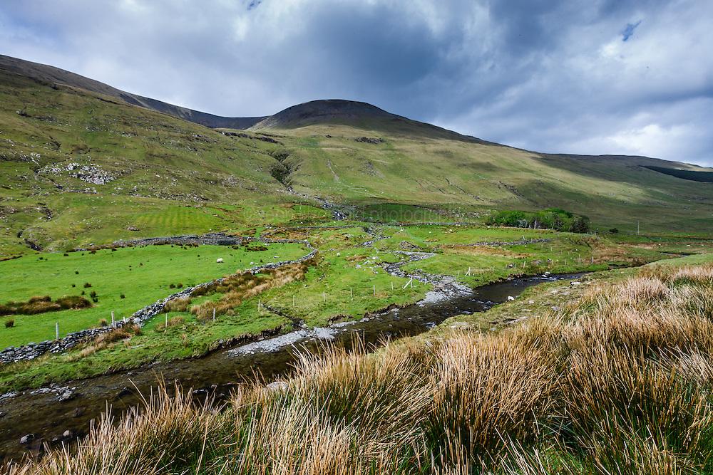 Stream and mountains through Sheeffrey Hills, County Mayo, Ireland