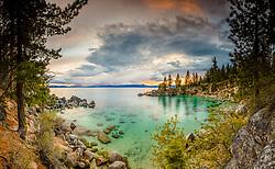 """Secret Cove Sunset 4"" - Stitched panoramic photograph of Secret Cove, Lake Tahoe shot at sunset."