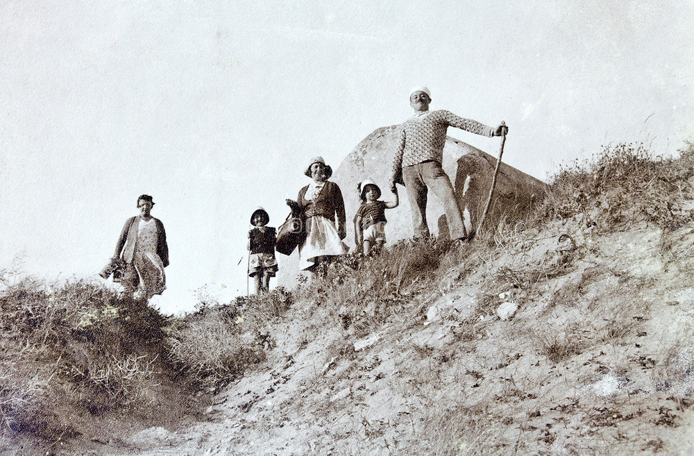 family hiking 1930s