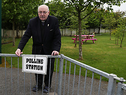 Father Tom Harrington outside the polling station in Knock National school, Mayo, as the country goes to the polls to vote in the referendum on the 8th Amendment of the Irish Constitution. Picture date: Friday May 25, 2018. See PA story IRISH Abortion. Photo credit should read: Brian Lawless/PA Wire
