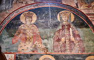 Pictures & images of the interior frescoes of a Georgian King and Queen Ubisa St. George Georgian Orthodox medieval monastery, Georgia (country)<br /> <br /> The 14th century lavish interior frescoes were painted by Gerasim in a local style known as Palaeologus  following Byzantine influences. .<br /> <br /> Visit our MEDIEVAL PHOTO COLLECTIONS for more   photos  to download or buy as prints https://funkystock.photoshelter.com/gallery-collection/Medieval-Middle-Ages-Historic-Places-Arcaeological-Sites-Pictures-Images-of/C0000B5ZA54_WD0s<br /> <br /> Visit our REPUBLIC of GEORGIA HISTORIC PLACES PHOTO COLLECTIONS for more photos to browse, download or buy as wall art prints https://funkystock.photoshelter.com/gallery-collection/Pictures-Images-of-Georgia-Country-Historic-Landmark-Places-Museum-Antiquities/C0000c1oD9eVkh9c .<br /> <br /> Visit our MEDIEVAL PHOTO COLLECTIONS for more   photos  to download or buy as prints https://funkystock.photoshelter.com/gallery-collection/Medieval-Middle-Ages-Historic-Places-Arcaeological-Sites-Pictures-Images-of/C0000B5ZA54_WD0s<br /> <br /> Visit our REPUBLIC of GEORGIA HISTORIC PLACES PHOTO COLLECTIONS for more photos to browse, download or buy as wall art prints https://funkystock.photoshelter.com/gallery-collection/Pictures-Images-of-Georgia-Country-Historic-Landmark-Places-Museum-Antiquities/C0000c1oD9eVkh9c