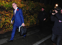 © Licensed to London News Pictures.08/11/2017.<br /> SOUTH EAST LONDON, UK.<br /> Priti Patel's Husband Alex Sawyer leaving the South East London family home at 6.30pm having changed into a smart suit .<br />  The home of International Development Secretary Priti Patel in South East London.<br /> Photo credit: Grant Falvey/LNP