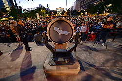 June 15, 2017 - Los Angeles, CA - People look at an movie prop while waiting for the iconic Bat-Signal in tribute to ''Batman'' star Adam West on Los Angeles City Hall, Thursday, June 15, 2017. (Credit Image: © Hans Gutknecht/Los Angeles Daily News via ZUMA Wire)