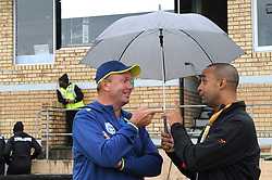Johannesburg 14-10-18 South Africa v Zimbabwe T20I at Willowmore Park, Benoni. Proteas bowling coach Claude Henderson talking to former Proteas leg spinner Robin Peterson. <br /> Picture: Karen Sandison/African News Agency(ANA)