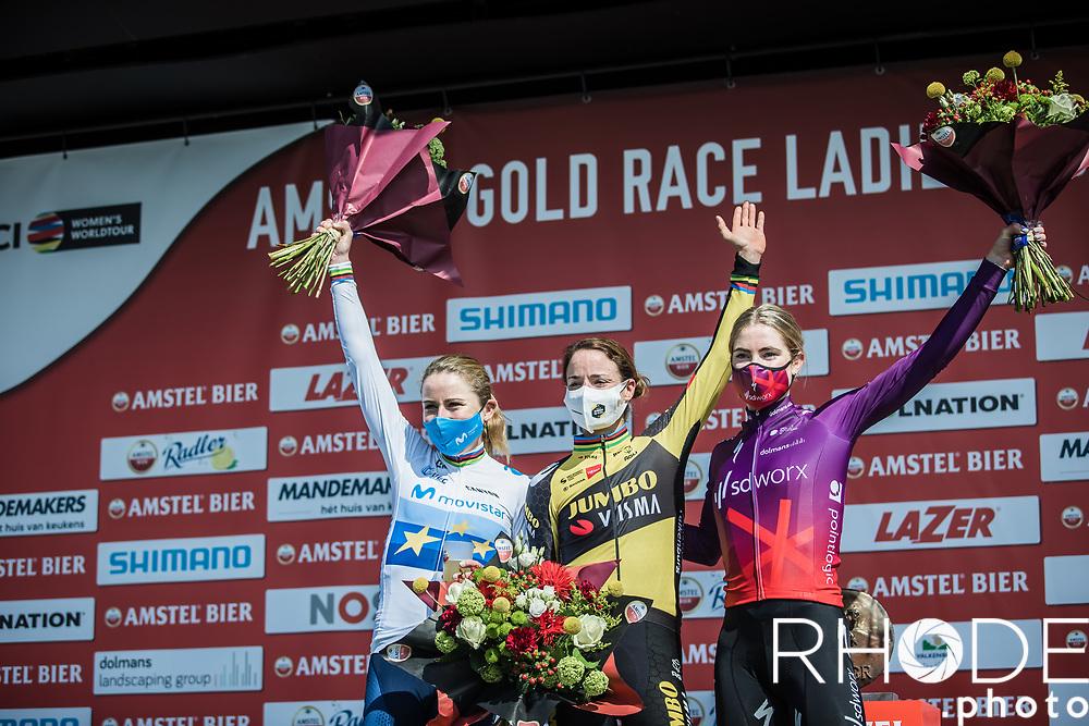 An all Dutch top 3 with <br /> 1st place: Marianne Vos (NED/Jumbo Visma)<br /> 2nd place: Demi Vollering (NED/SD Worx) <br /> 3th place: Annemiek Van Vleuten (NED/Movistar)<br /> <br /> 7th Amstel Gold Race Ladies Edition <br /> Valkenburg > Valkenburg 116km<br /> <br /> ©RhodePhoto