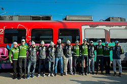 Team prior to the departure of a train Ljubljana - Jesenice where will be placed press conference of Slovenian Ski jumping team, on March 18, 2015 in Ljubljana train station, Slovenia. Photo by Vid Ponikvar / Sportida