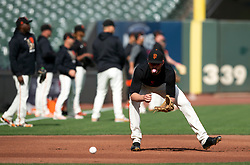 Oct 7, 2021; San Francisco, CA, USA; San Francisco Giants outfielder Kris Bryant (23) takes grounders at third base during NLDS workouts. Mandatory Credit: D. Ross Cameron-USA TODAY Sports