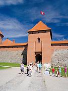 Visitors entrance Trakai Castle, one of Lithuania's most famous landmarks.