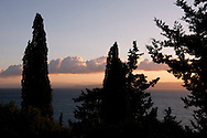 A view of sunrise over the Aegean Sea from the olive grove on the Orkos Estate, Paxos, Greece, Europe