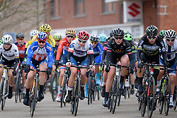 Clara Koppenburg on the front in the early stages at the 127 km Omloop van het Hageland on February 26th 2017, starting and finishing in Tielt Winge, Belgium. (Photo by Sean Robinson/Velofocus)