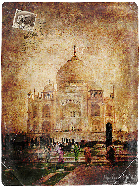 Taj Mahal, Agra, India - Forgotten Postcard digital art collage