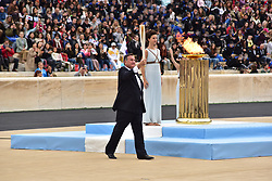 October 31, 2017 - Athens, Attiki, Greece - President of the Hellenic Olympic Committee Spyros Capralos is going to handover the Tourch with the Olympic Flame to the President of the Organising Committee for the XXIII Winter Olympics Games 'PYEONGCHANG 2018' Lee Hee Beom. The Handover Ceremony of the Olympic Flame for Winter Games PYEONGCHANG 2018, took place today in Panathenaic Stadium in the presence of the President of Hellenic Republic Prokopis Pavlopoulos. (Credit Image: © Dimitrios Karvountzis/Pacific Press via ZUMA Wire)