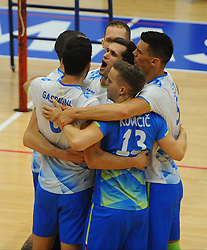 Gregor Ropret of Slovenia, Jani Kovacic of Slovenia, Mitja Gasparini of Slovenia, Alen Sket of Slovenia and Tine Urnaut of Slovenia celebrate during friendly volleyball match between National teams of Serbia and Slovenia, on August 18, 2017, in Belgrade, Serbia. Photo by Nebojsa Parausic / MN press / Sportida