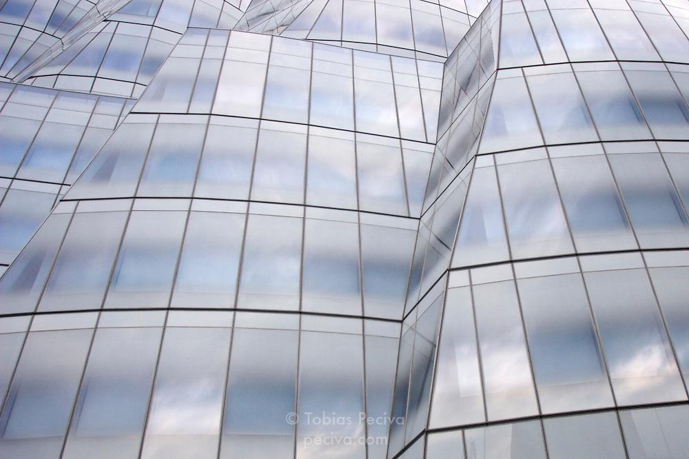 Facade of a glass office tower in Manhattan, New York.