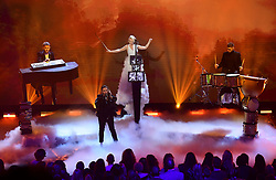 Clean Bandit performing at the Brit Awards 2018 Nominations event held at ITV Studios on Southbank, London.