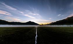 THEMENBILD - ein Wassergraben teilt die Landschaft im Nebel bei Sonnenaufgang, aufgenommen am 11. Mai 2017, Kaprun, Österreich // A moat divides the landscape in the fog at sunrise at Kaprun, Austria on 2017/05/11. EXPA Pictures © 2017, PhotoCredit: EXPA/ JFK