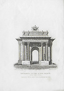 Nineteenth century engraving from 1827, Entrance to the Kings Palace, Hyde Park Corner, London, England, UK drawn by Thomas Shepherd , drawn by Thomas H Shepherd