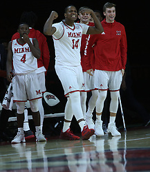 November 14, 2017 - Oxford, Ohio, U.S - Miami (Oh) Redhawks forward Bam Bowman (14) yells on the Redhawks as they beat Wright State Raiders. On Tue Nov 14, 2017 in Oxford,Ohio. (Credit Image: © Ernest Coleman via ZUMA Wire)