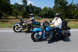 John Bartman (R) and Bill Page riding in the Cross Country Chase motorcycle endurance run from Sault Sainte Marie, MI to Key West, FL. (for vintage bikes from 1930-1948). Stage-7 covered 249 miles from Macon, GA to Tallahassee, FL USA. Thursday, September 12, 2019. Photography ©2019 Michael Lichter.