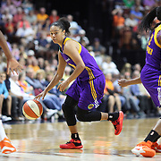 UNCASVILLE, CONNECTICUT- JULY 15:  Kristi Toliver #20 of the Los Angeles Sparks in action during the Los Angeles Sparks Vs Connecticut Sun, WNBA regular season game at Mohegan Sun Arena on July 15, 2016 in Uncasville, Connecticut. (Photo by Tim Clayton/Corbis via Getty Images)