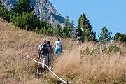 Hikers on the summit of Elfer mountain, Neustift im Stubaital, Tirol, Austria