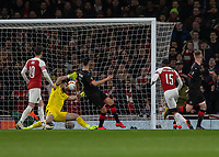 Football - 2018 / 2019 UEFA Europa League - Round of Sixteen, Second Leg: Arsenal (1) vs. Rennes (3)<br /> <br />  Ainsley Maitland-Niles (Arsenal FC) heads home Arsenals second goal to give them an away goals lead on the night at The Emirates.<br /> <br /> COLORSPORT/DANIEL BEARHAM